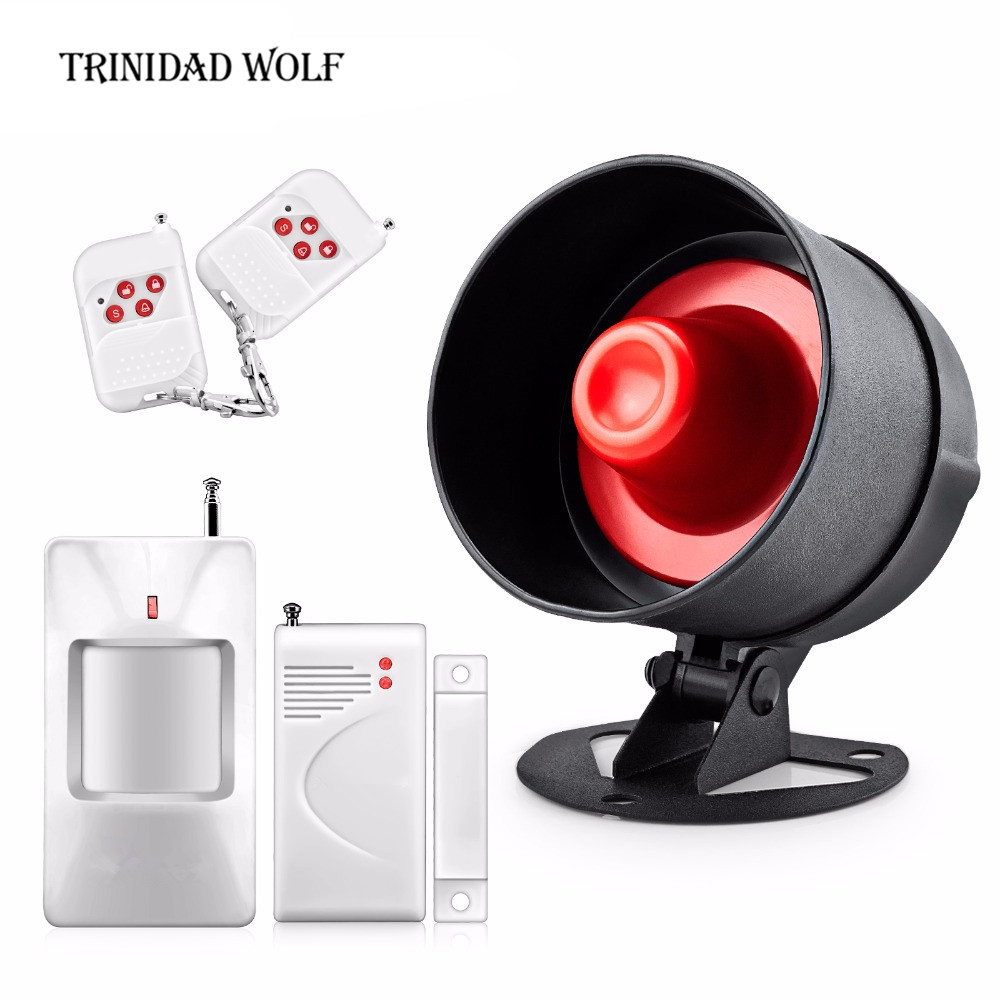 TRINIDAD WOLF 110dB Alarm siren PIR motion detector Loudly Speaker Alarm System for Home Burglar Security