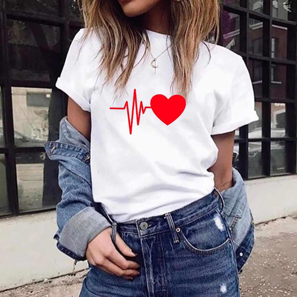 Harajuku футболка для женщин летние футболки модные милые с принтом сердца короткий рукав круглый вырез черный белый женская уличная одежда топы тройник