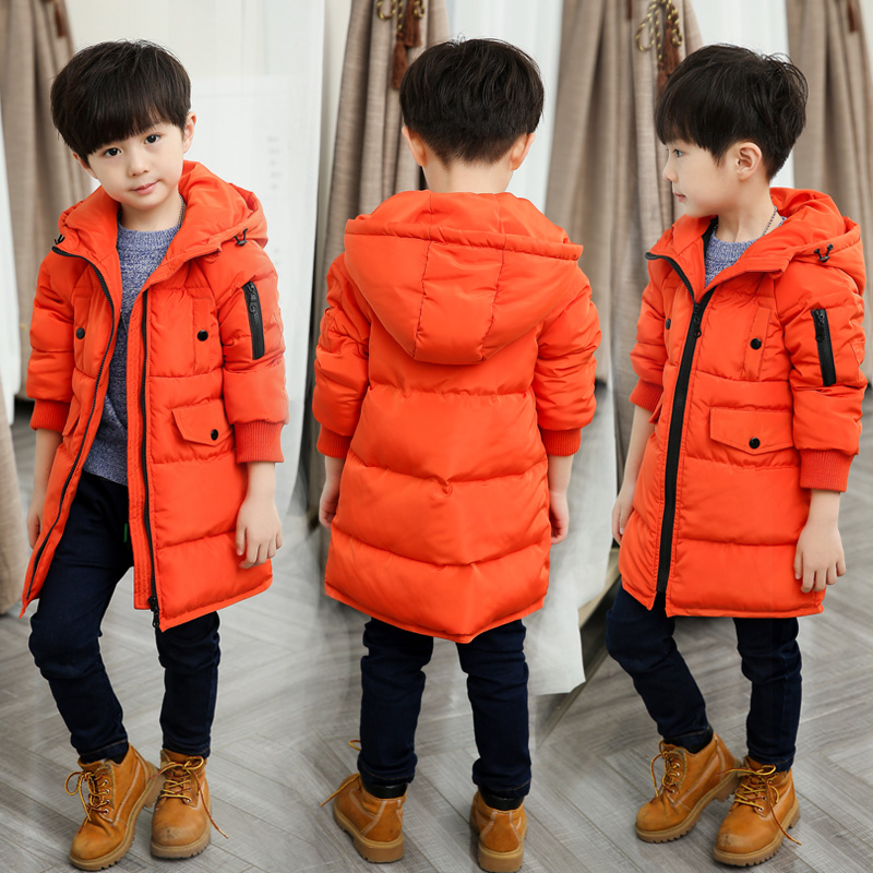 Hot Sale2018 Winter New Boys Long Wadded Jacket Children's Cotton-Padded Clothes Kids Thickening Warm Hooded Coat Outerwear X168 2017 new winter women wadded jacket outerwear plus size hooded loose thickening casual cotton wadded coat parkas student ws299