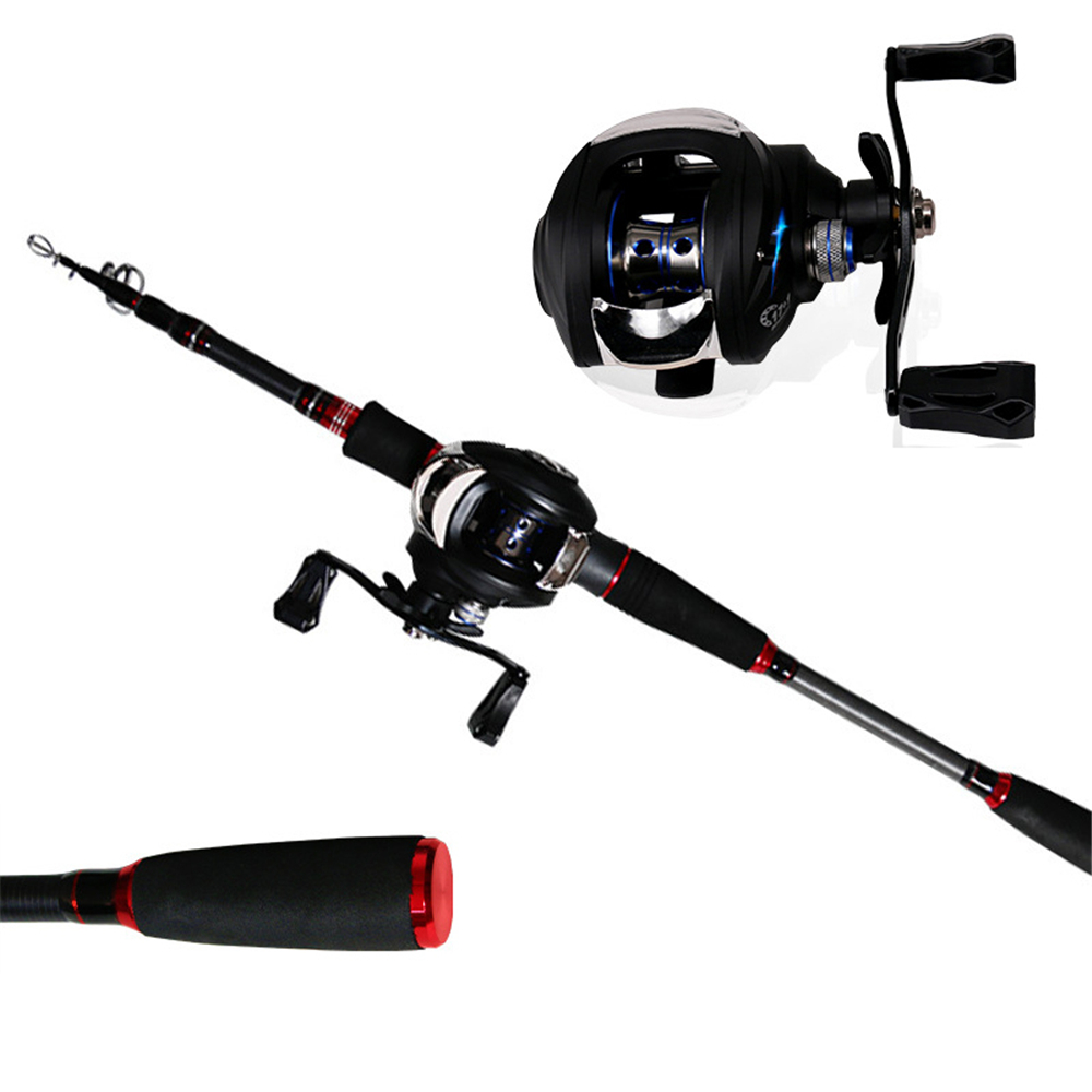 Telescopic Fishing Rod Combo Baitcasting Reel Carbon Pole Spool Baitcasting 4 1BB Gear Ratio 7 2