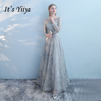 It's YiiYa 2018 Sales Full Sleeve Prom Dresses Simple Lace Up Floor Length Fashion Designer Luxury Evening Gowns LC038