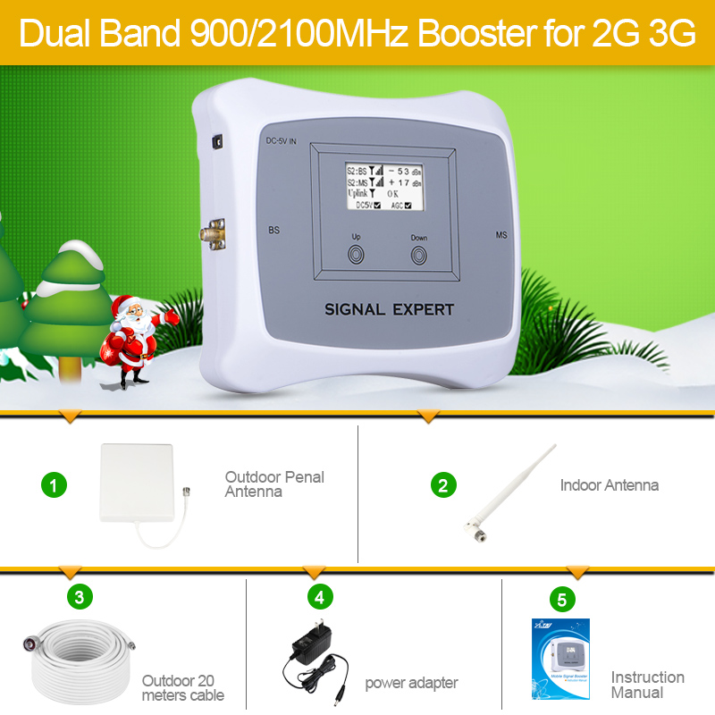 Full Smart 2g 3g Mobile Signal Repeater DUAL BAND 900 2100mhz Cellular Signal Cell Phone Booster