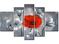 Hand Paint Fine Art Oil Painting On Canvas For Sale 5 Panels Wall Art Flower For Bedroom Decoration with framed