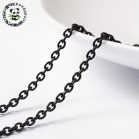 3x2x0.6mm 304 Stainless Steel Metal Cross Chains for Jewelry Making DIY Findings, Gunmetal, 3x2x0.6mm; about 20m/roll
