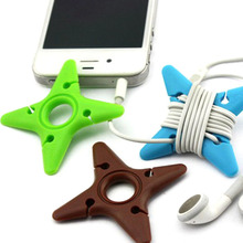 10Pcs Cute Colorful Soft Silicone Dart Star Earphone Cable Winder Organizer Protector Wire Holders Random DeliveryHottest