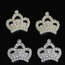 Pearl Crystal Imperial Crown Buttons Flatback Embellishment for Craft DIY Hair Bow Wedding Shoes Decorative 10pcs/lot