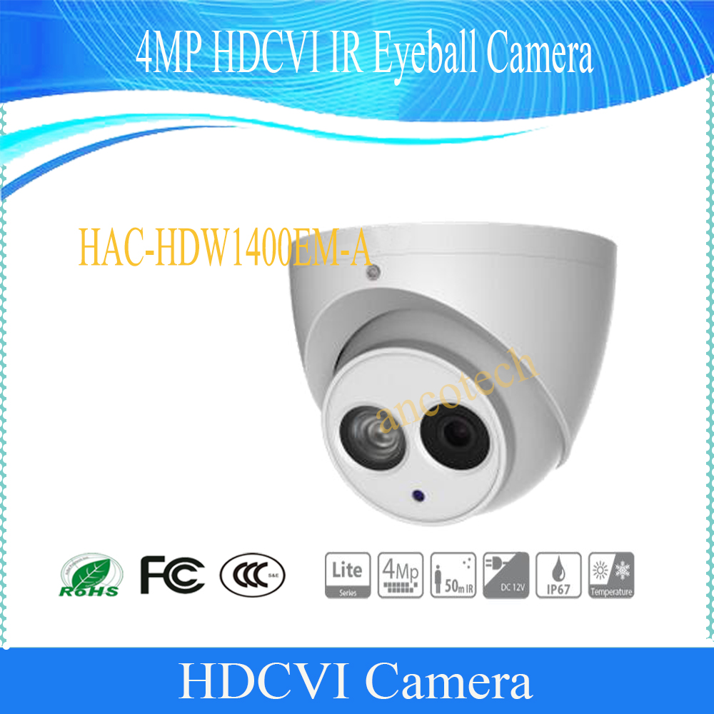 Free Shipping DAHUA CCTV Security Camera 4MP HDCVI IR Eyeball Camera IP67 without Logo HAC-HDW1400EM-A free shipping dahua cctv security camera 2mp hdcvi ir eyeball camera ip67 without logo hac hdw1220r vf