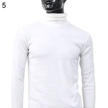 Men Fashion Winter Warm Polo Neck Solid Color Pullover Slim Sweater Jumper Top