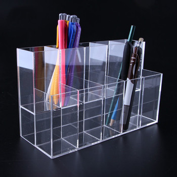 Clear 10 Grids Acrylic Pen Pencil Stand Holder Makeup Cosmetic Brush Storage Organizer 2 layer Jewelry Display acrylic nail polish organizer essential oil storage 2 7 layers manicure cosmetics jewelry display stand holder clear makeup box