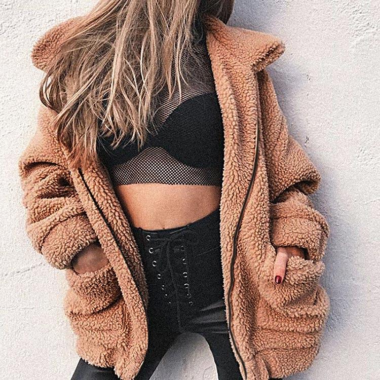 HTB1IZtHaoLrK1Rjy1zbq6AenFXa2 Autumn winter jacket female coat 2019 fashion korean style plus size women teddy fur coat female casual jacket woman pusheen