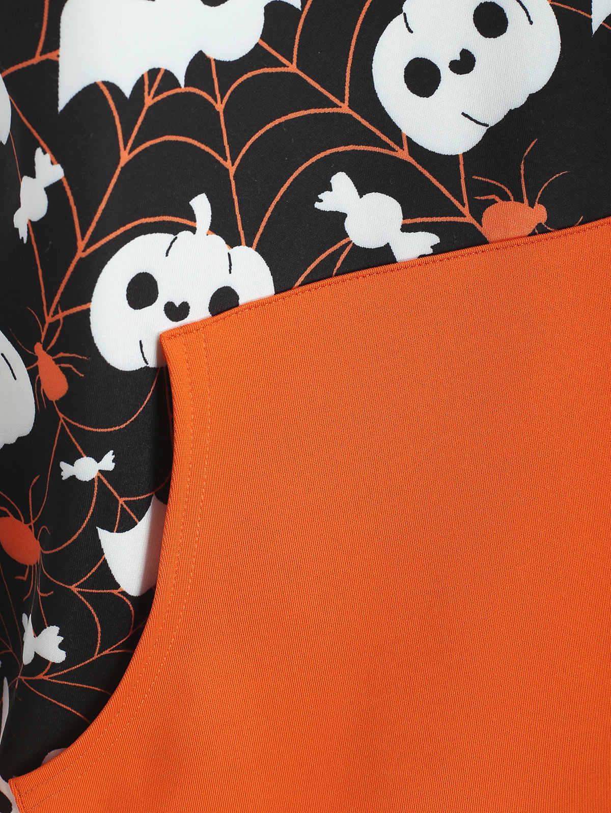 Wisalo осень плюс размер Хэллоуин Паук Паутина Тыква Печать Толстовка Повседневная женская с капюшоном кенгуру карман пуловер, худи, свитер