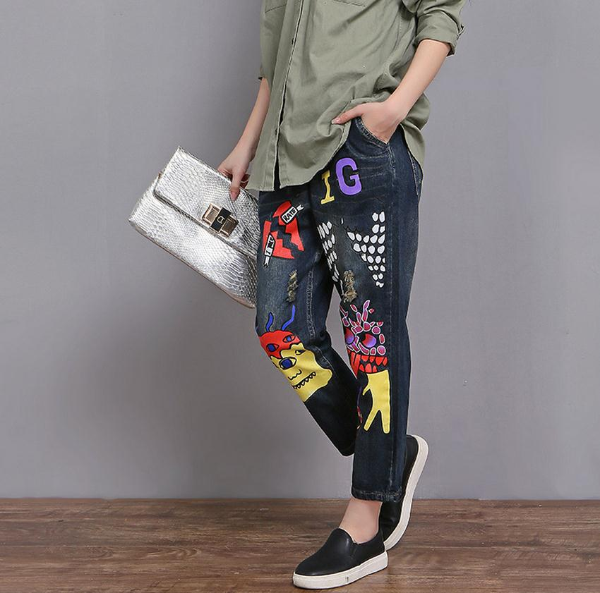Jeans 2xl Elastic Printing 6xl Waist Pants quality Blue Personalized Leg Wide New Wj373 Female Cotton Plus Size 2017 Sky High RfqvRw