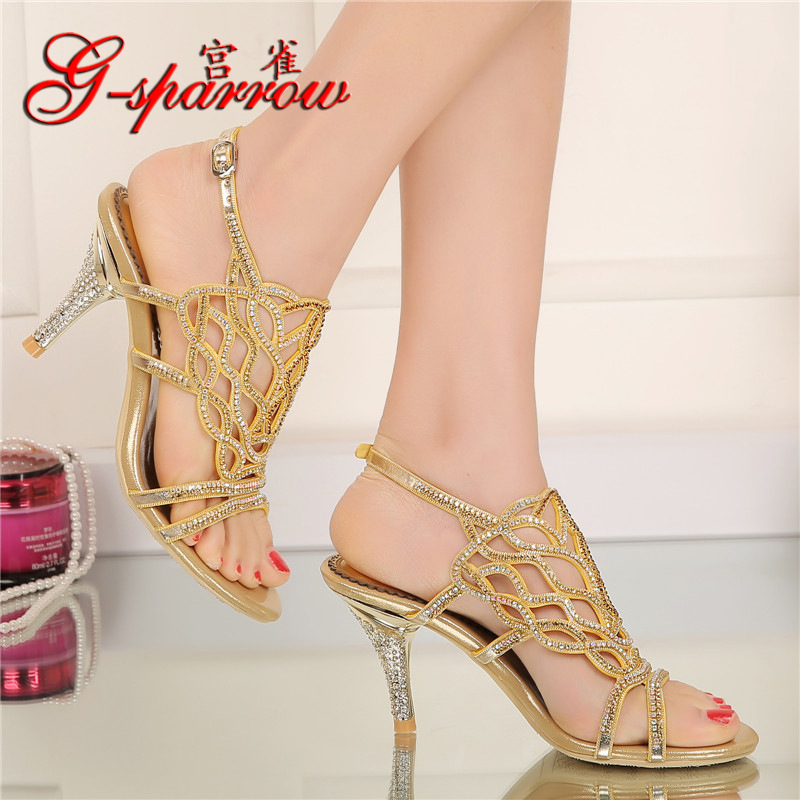 a0700a5c9608 G SPARROW 2018 Summer Ladies Fashion Large Sizes Online New Diamond Gold  High Heeled Sandals Stiletto Pump Women s Shoes US 9-in High Heels from  Shoes on ...