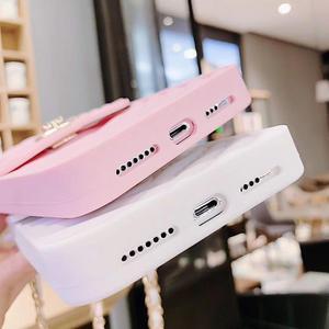 Image 5 - Crossbody carteira caso capa para iphone 11 12 pro xs max xr x 10 8 7 6s plus slot para cartão bolsa capa com alça de ombro longa corrente