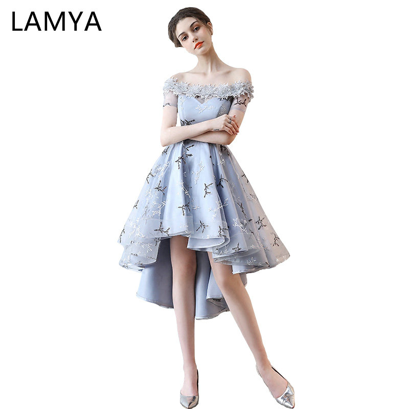Lamya Embroidery Prom Dresses Short Front Back Long Tail Banquet Evening Dress  Formal Party Gown Plus Size Elegant Dresses