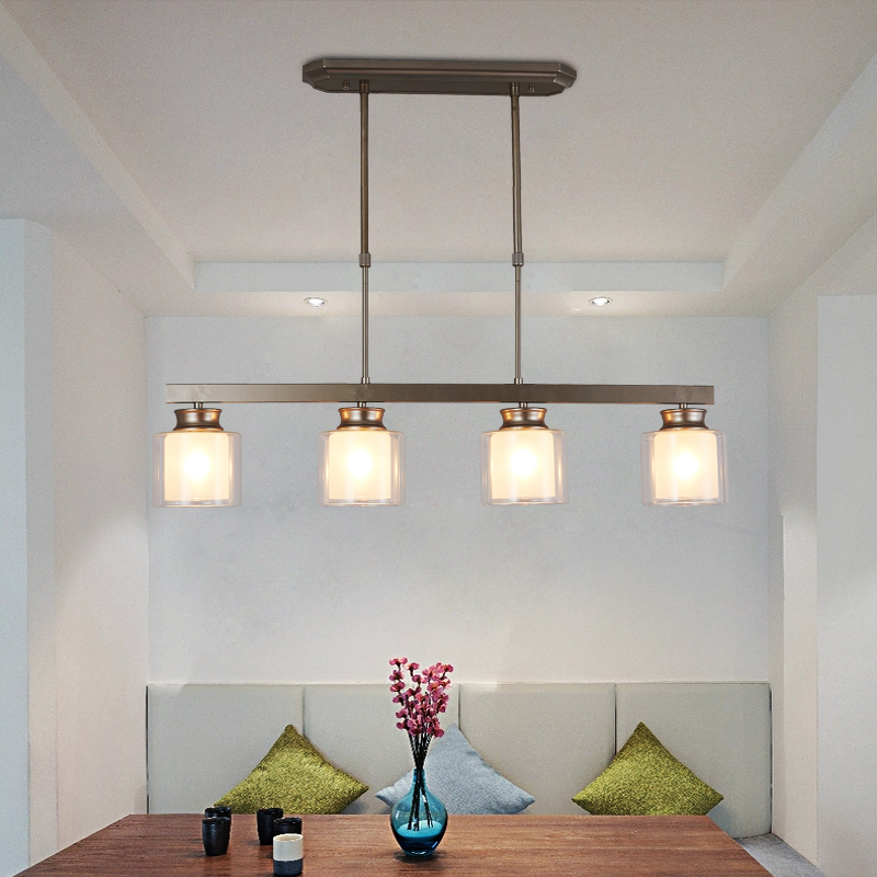 Light Modern Clear Gl Pendant Lighting Brushed Nickel Dining Room Fixtures Hanging Contemporary Lamp