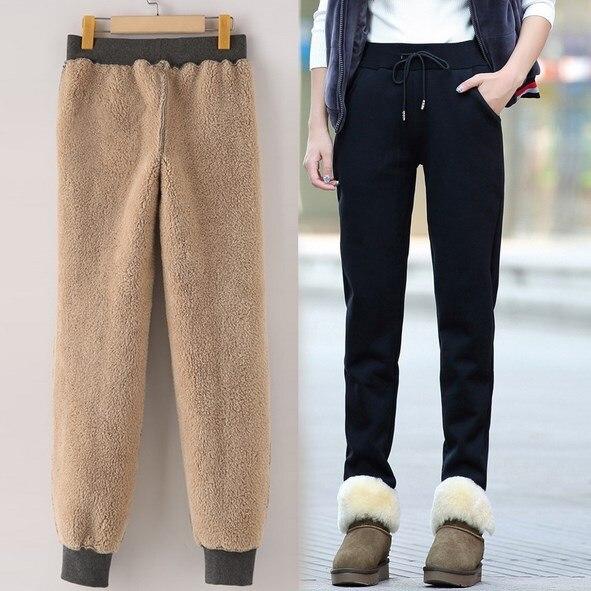 868153c6e Outono Inverno Preto Cinza Sweatpants Mulheres Harem Pants Suor Calças de Lã  Grossa de Veludo Casuais Calças Compridas Femininas em Calças   Capris de  ...