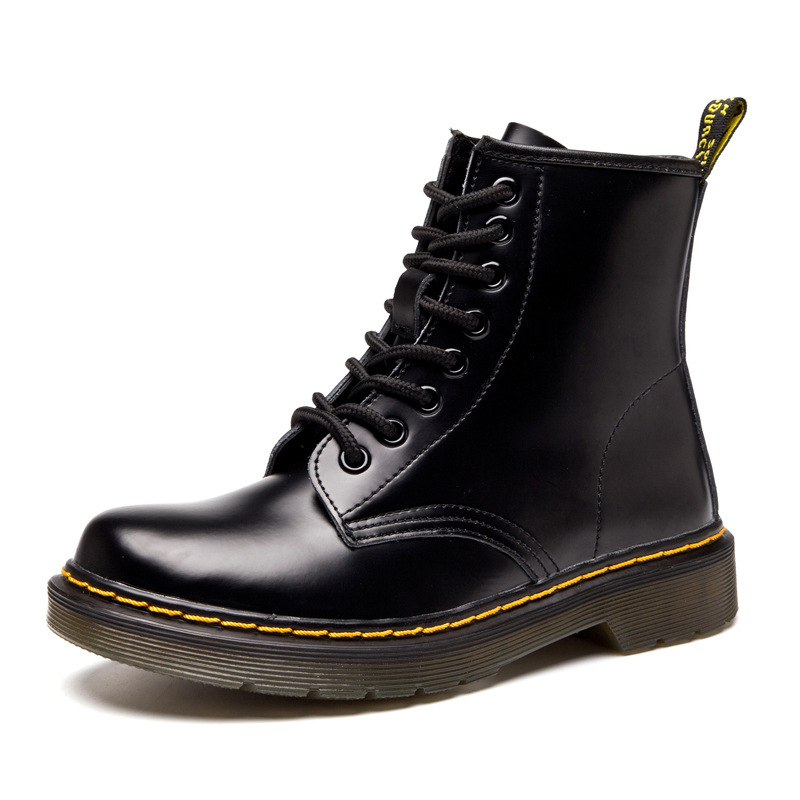 2019 new British Martin boots leather shoes European code in the tube couple short boots female locomotive