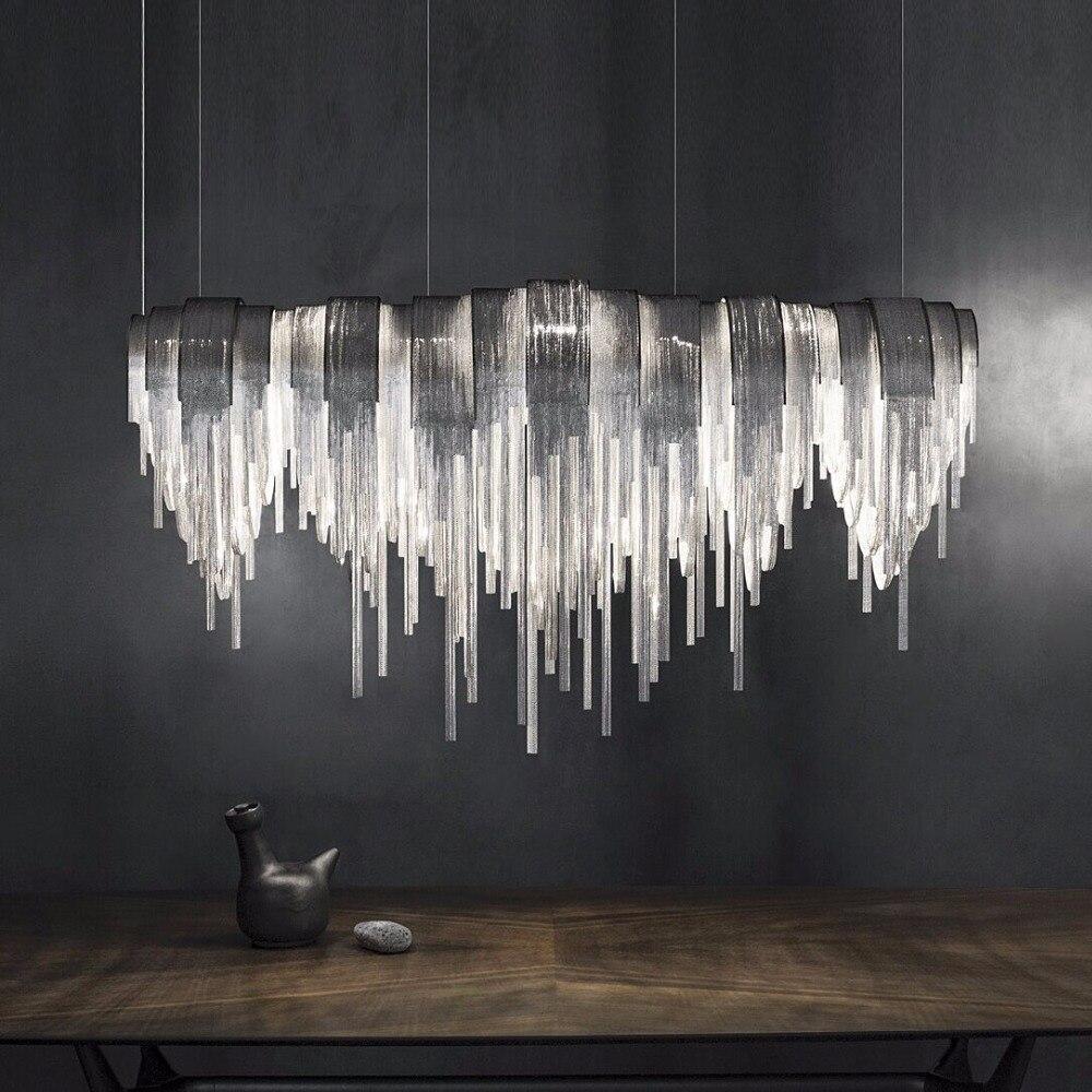 italy tassel aluminium chain chandelier lighting modern luxury chain