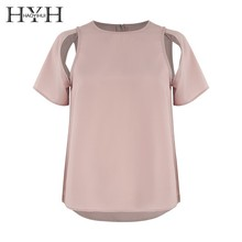 HYH Haoyihui Femme Summer Fashion Stylish Simple Casual Tops O-Neck Short Split Sleeves Asymmetric Characteristic T-shirt