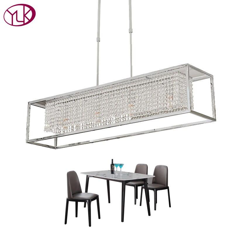 Youlaike Rectangle À Manger Lustre Éclairage De Luxe En Cristal Moderne Lumière Îlot De Cuisine Hanglamp LED Cristal Lustres