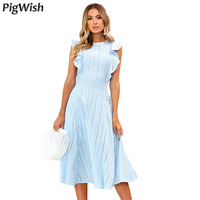 PigWish 2018 Casual Summer Party Dress Elegant Ruffle Lace Mesh Butterfly Sleeve Sleeveless O Neck High