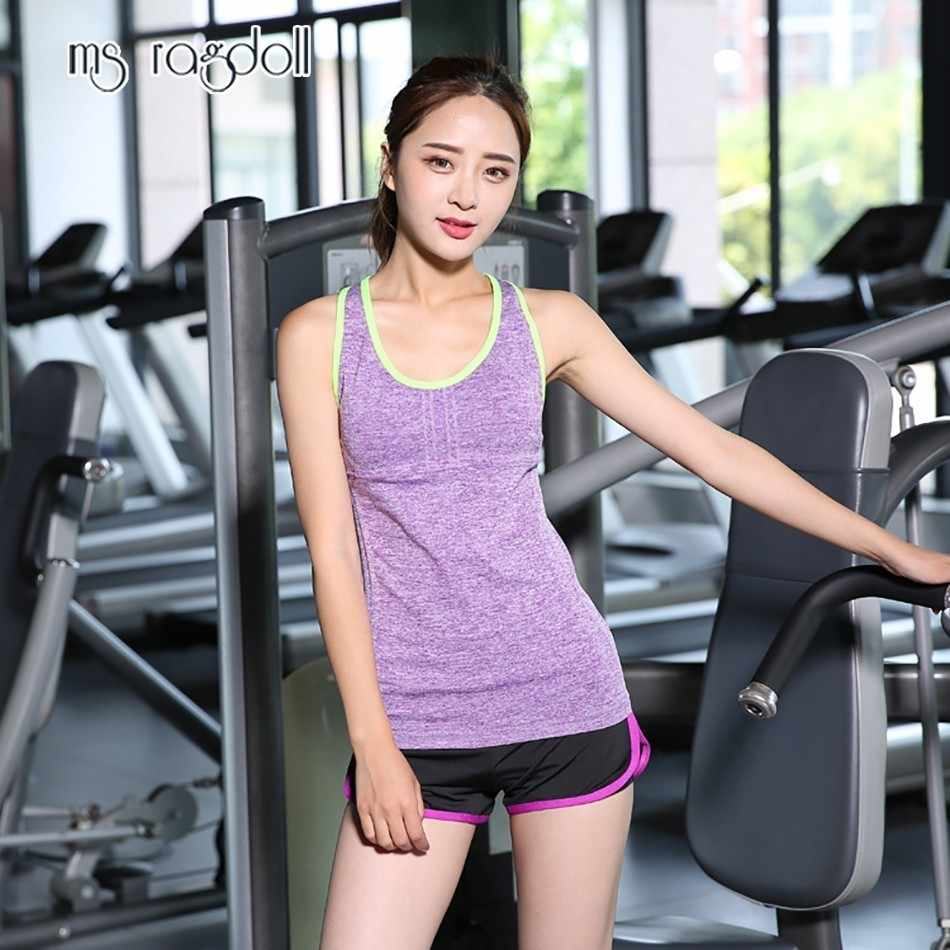 Ms Ragdoll Women Sleeveless Fitness Vest Exercise Workout Sports T-shirts Fitness Running Mujer Sport Vest Yoga Top Gym Clothing