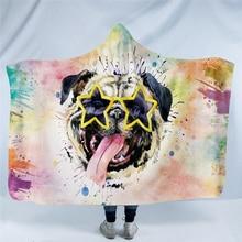 Animal Hoodie Blanket For Kids Adults Cartoon Dinosaur Dog Tiger Leoperd Winter Warm Sofa Plush Fluffy Hooded Blanket Xmas Gift
