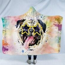 Bluza z kapturem z nadrukiem zwierzęcym koc dla dzieci dorośli kreskówka dinozaur pies tygrys Leoperd zimowa ciepła kanapa pluszowy puszysty koc z kapturem świąteczny prezent
