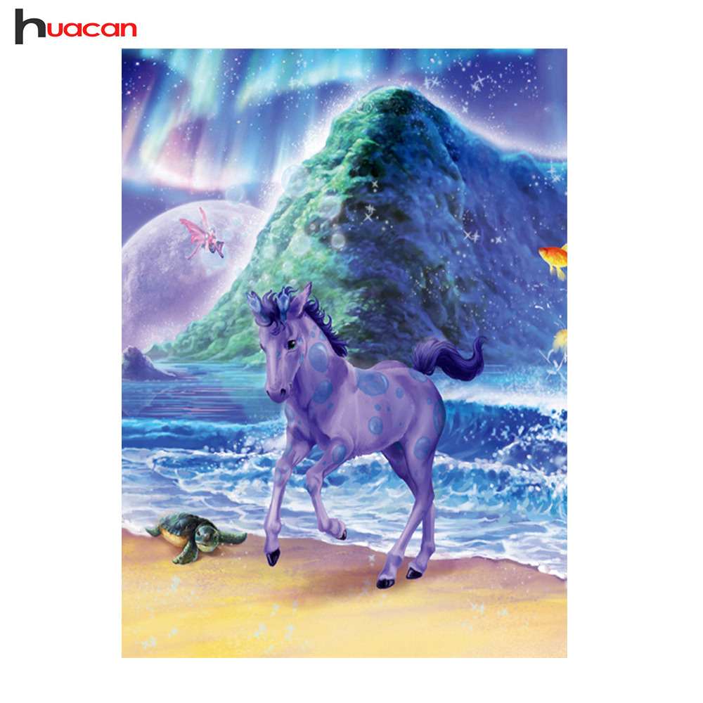 Huacan Animal Diamond Painting Purple Horse Cross Stitch Needlework Crafts Pattern Diamond Embroidery Gift for Child DIY