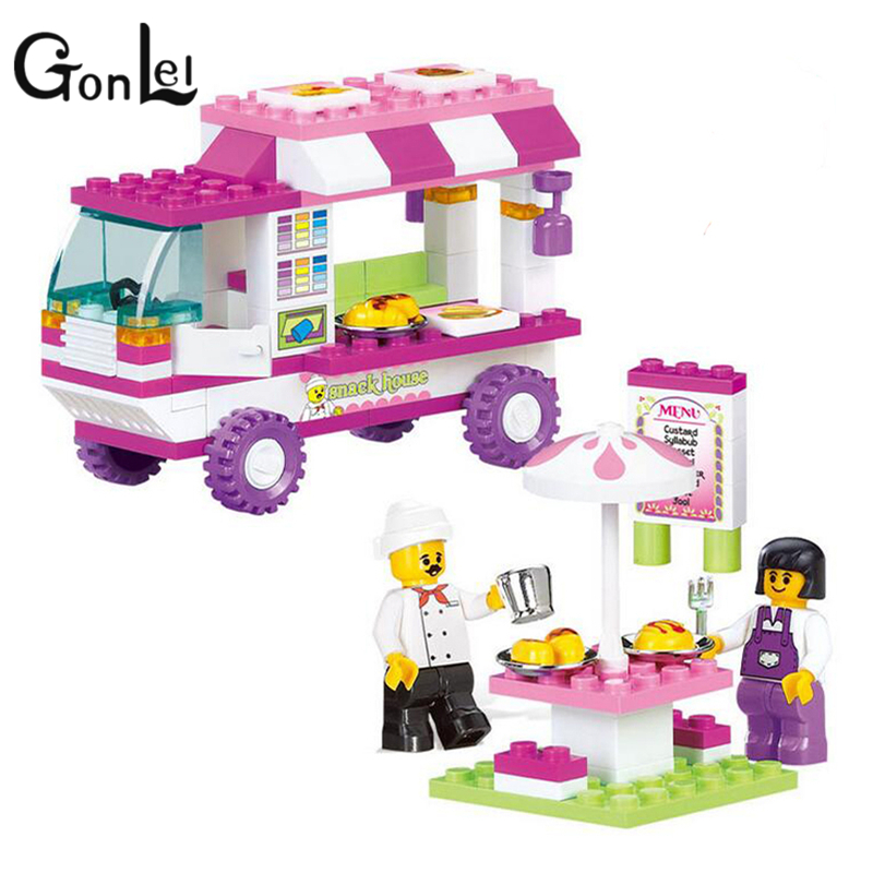 GonLeI 102Pcs B0155 Snack Car Building Blocks DIY Particles Bricks Pink Dream Girls Friends Toys Figure Kids Toys Playmobil Brin