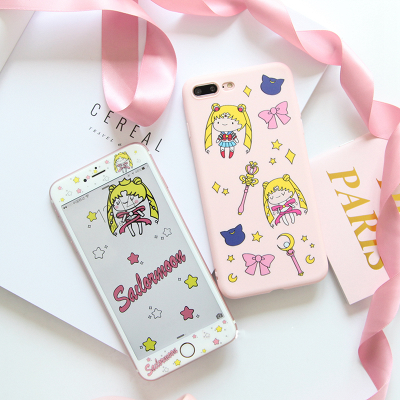 Case for iPhone 7 Sailor Moon + Tempered Glass Screen Protector Case for iPhone 6 6 Plus 4.7/5.5 Lovely Cute Cartoon Soft Capa