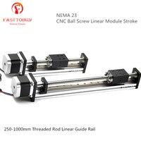40 мм резьбой линейной направляющей NEMA23 ход поршня 250 1000 мм с ЧПУ шариковинтовой модуль для 3D принтеры запчасти Роботизированная рука компле