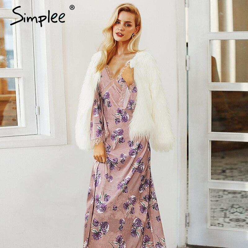 Просто, элегантно, кружевное бархатное зимнее платье для женщин с v-образным вырезом, Сетчатое сексуальное длинное платье 2018, Осеннее Повсед...