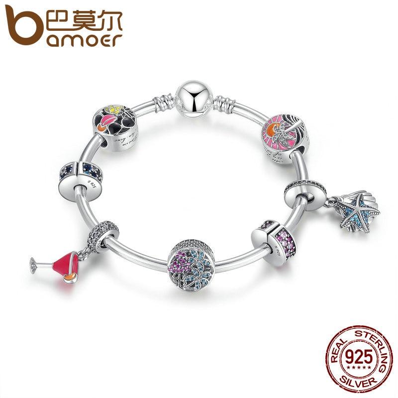 цена на BAMOER 925 Sterling Silver Tropical Sunset, Summer Fun Flamingo & Mixed Enamel Charm Bracelet Sterling Silver Jewelry PSB010