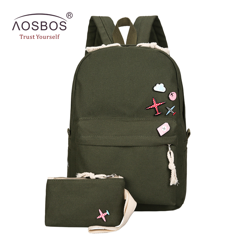 Aosbos 2Pcs/set Canvas School Bags for Kids Girls Casual Children Boys Preppy Style Backpacks Women Book Bags mochila escolar ciker new preppy style 4pcs set women printing canvas backpacks high quality school bags mochila rucksack fashion travel bags