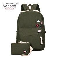 Aosbos 2Pcs/set Canvas School Bags for Kids Girls Casual Children Boys Preppy Style Backpacks Women Book Bags mochila escolar