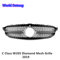 Sport C Class Diamonds Mesh Grille for Mercedes ABS Front Bumper Grill for Benz C Class W205 C43 C250 C300 C350 2019+