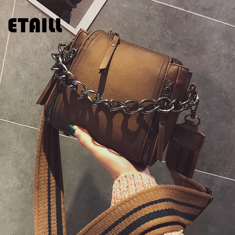 ETAILL Fashion Nubuck Leather Women Bucket Bag Portable Big Chain Wide Strap Messenger Bag Casual Vintage Scrub Shoulder Bag new bag strap chain wallet handle purse acrylic resin strap chain strap replaced bag strap bag spare parts