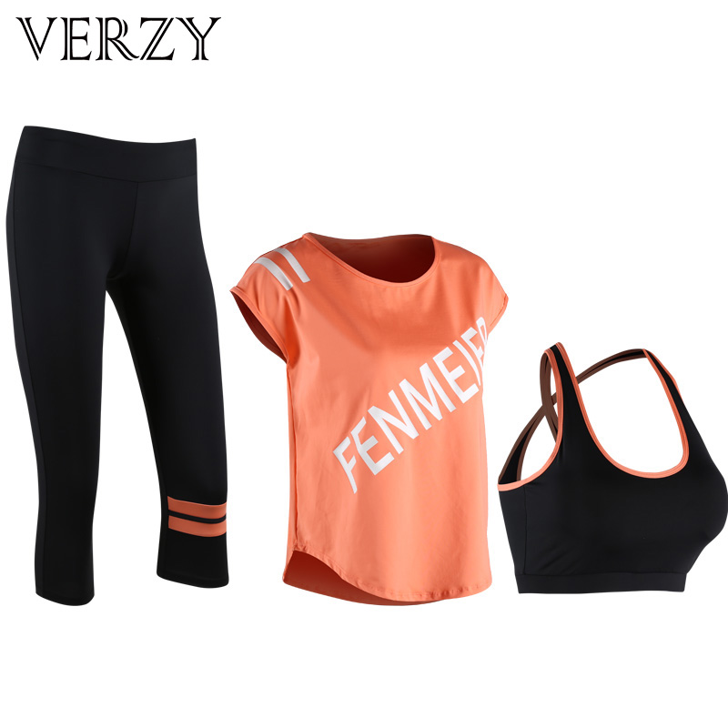 Verzy New 2018 Women Yoga Set Sportswear Letters Padded Tide Brand Gym Running Fitness Breathable Bra Loose T-shirt Tight Pants