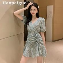 Summer Print Floral Dress Women Short Sleeve Pleated Drawstring Ruffles Mini Corset Korean Robe Ete 2019 Femme