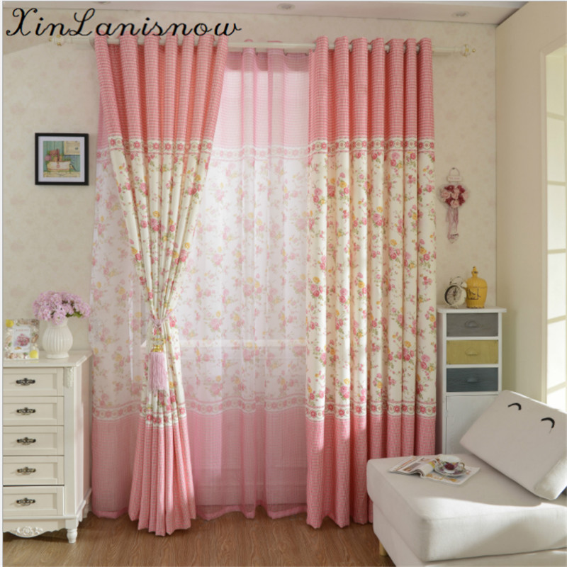 Stamp Shade Small Fresh Small Suihua Curtains Floating Children Room Curtains