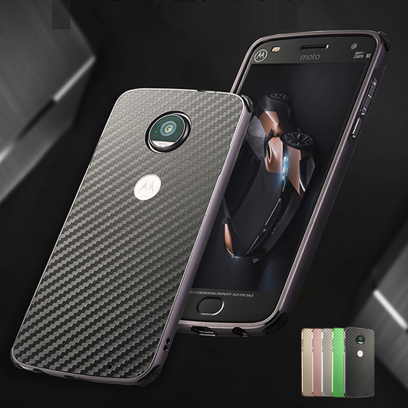 Phone Case For Motorola MOTO Z Play 5.5 inch Aluminum Metal Frame + Shockproof Carbon Fiber PC Back Cover Cases For MOTO Z Play