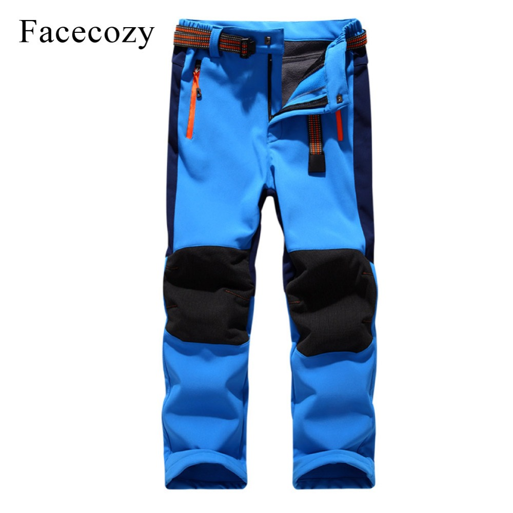 Facecozy Kids Winter Thicken Outdoor Sports Pants With Fleece Windproof Warm Softshell Trousers Children Adventure Camping Pants