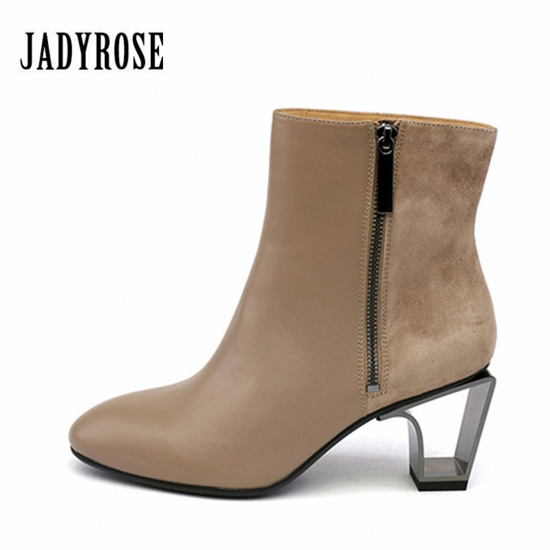 Jady Rose Hollow Out Heel Ankle Boots for Women Khaki Side Zipper Genuine Leather High Heel Botas Mujer Women Pumps Martin Boot jady rose fashion camouflage ankle boots for women lace up hollow out high boots chunky high heel botas mujer women pumps
