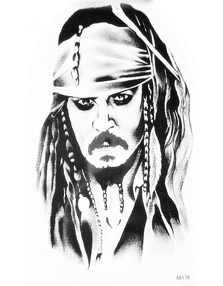 Pirates of the caribbean tattoo sticker captain jack for Captain jack sparrow tattoo