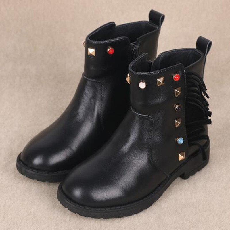 цена на New Children Boots Genuine Leather Girls Ankle Boots Student Baby Winter Warm Plush Snow Boots Kids Shoes Black Martin boots 02B