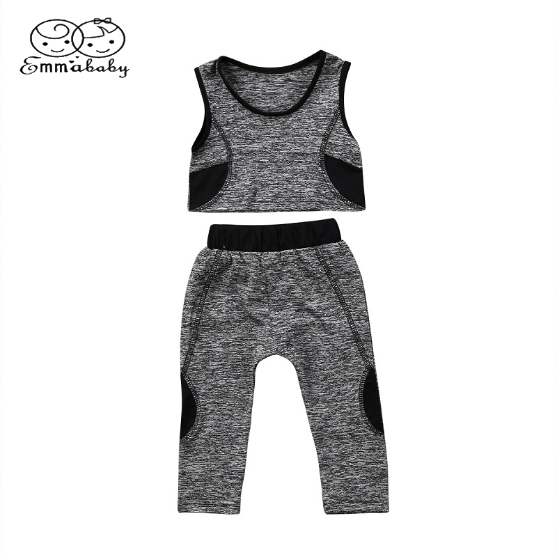 Emmababy Summer Children Clothing Set Toddler Kids Baby Girls Yoga Cotton Vest Crop Top+Pants Leggings Sport Casual Outfits