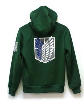 2 Colors Anime Attack on Titan Unisex Cosplay Costume Green/Black Hoodie Scouting Legion Hooded Jacket