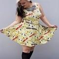 PLUS SIZE S ~ 4XL XXL XXXL XXXXL, Kawaii Bonito Japão Akita Inu Cão 3D Impresso Vestido Plissado, Harajuku Lolita Vestidos